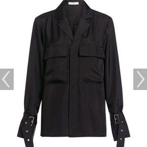 Tibi Mendini Buckle Twill Button Down Shirt (NWT)